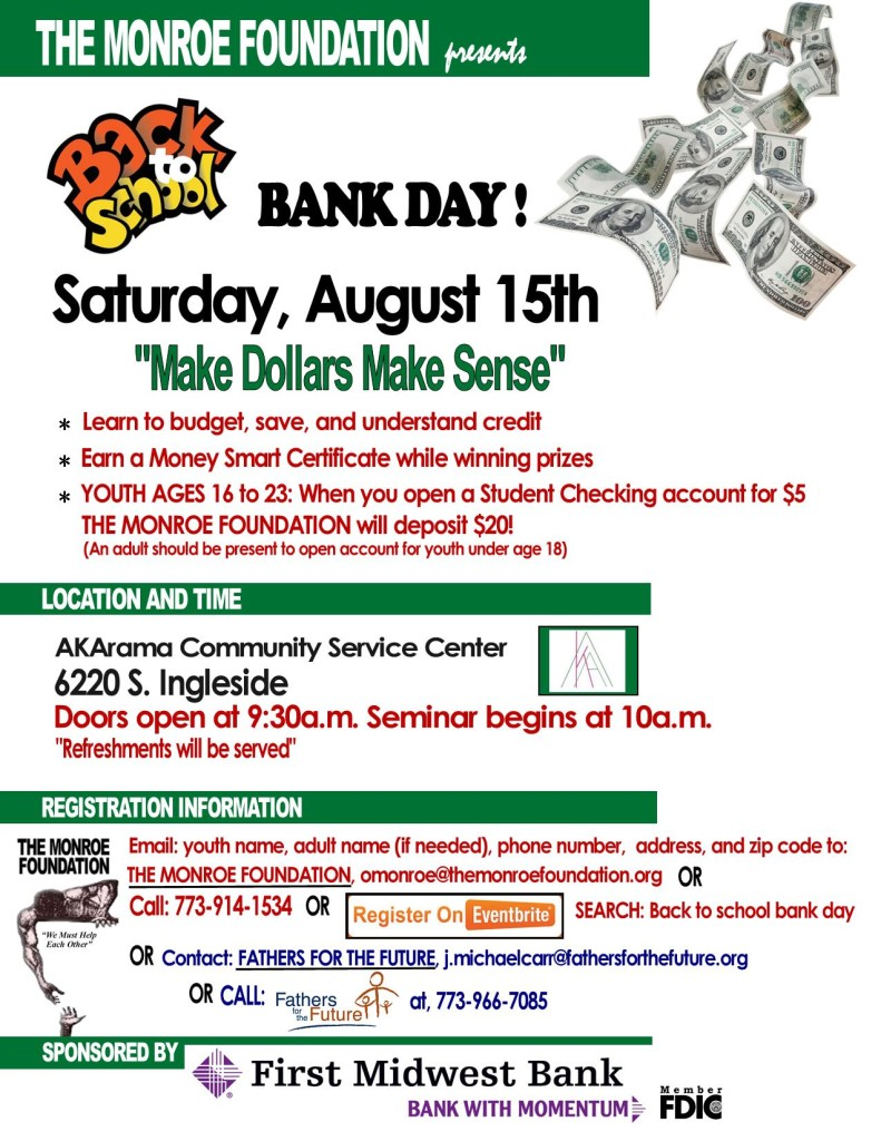 Back to School Bank Day _ Aug 13 FMB FFF